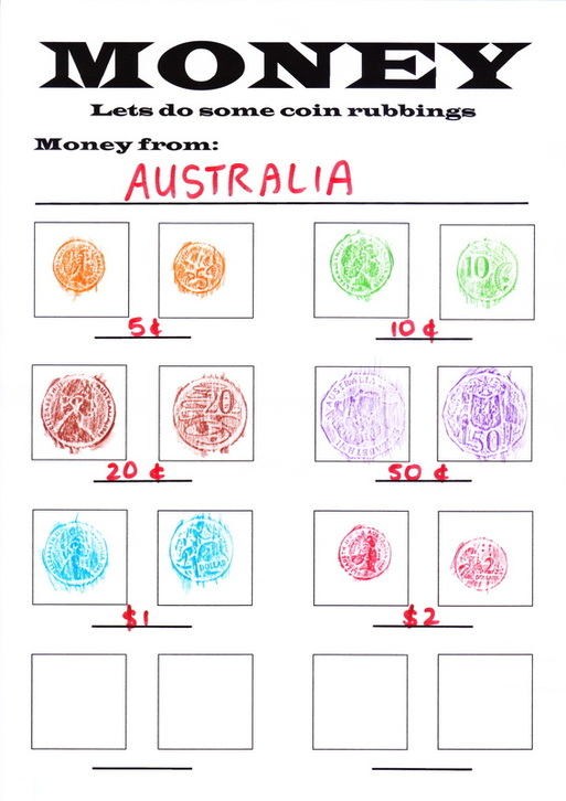 Money rubbing template to help children learning about money and coins