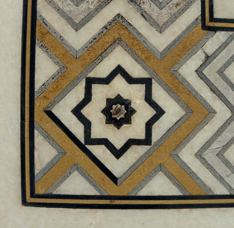 Pietra Dura (Inlaid work).  Taj Mahal, Agra, India.