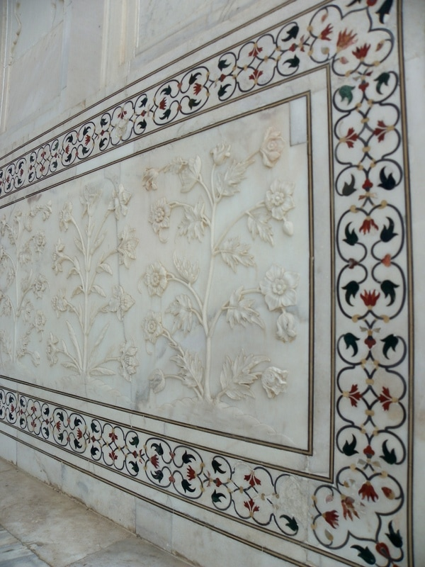 Taj Mahal, Agra, India. Marble Carvings and Pietra Dura.