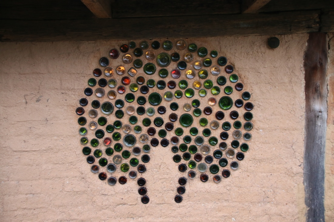 Recycled Bottles in the walls,  Adobe Abode, Mallacoota