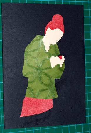 Free craft Card making silhouette lady with template and instructions