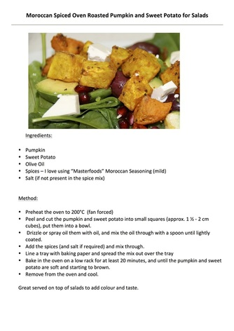 Recipe for Moroccan Spiced Roast Pumpkin and Sweet Potato for salads
