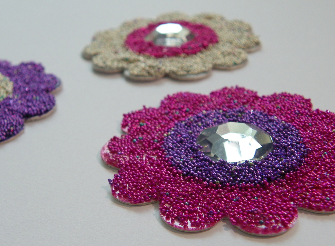 Microbead Flower Embellishments for Card Making and Scrapbooking