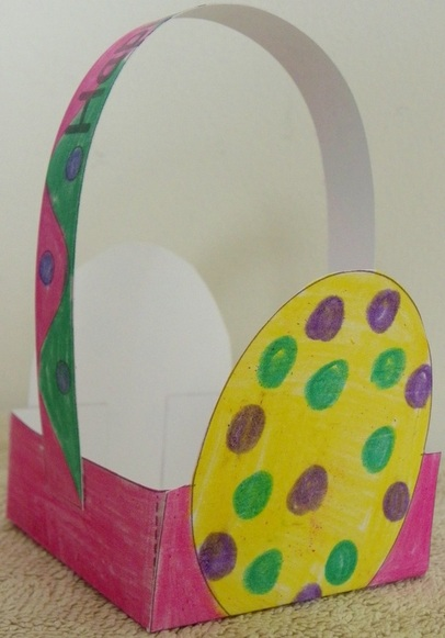 Easter Basket Craft for kids with free template and instructions. Easter Egg Design.