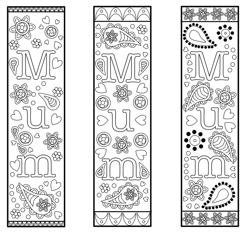 free printable bookmark template for mothers day or mum for colouring and gifts. Black Bedroom Furniture Sets. Home Design Ideas
