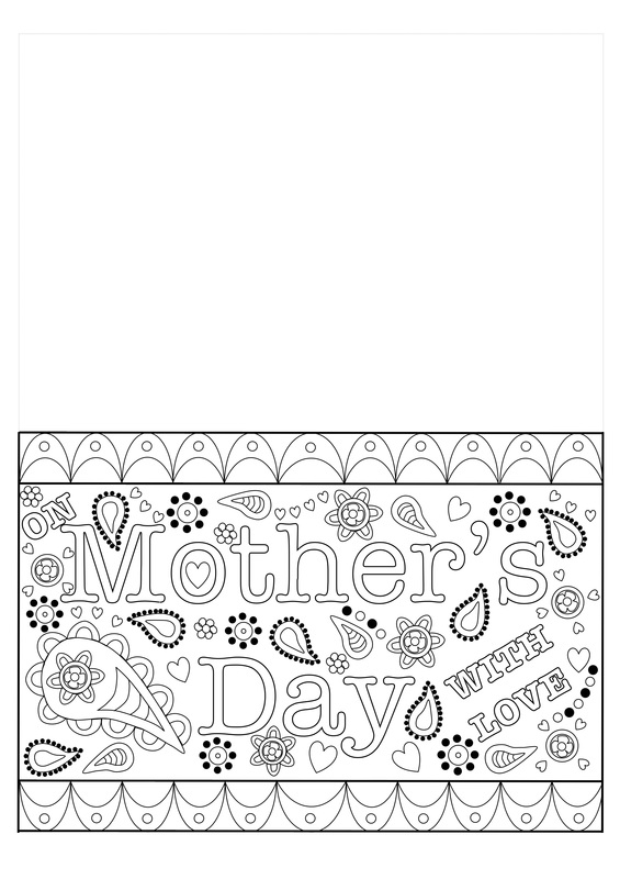 Free printable template for a colouring Mother's Day Card for Adults, Older kids and teens.