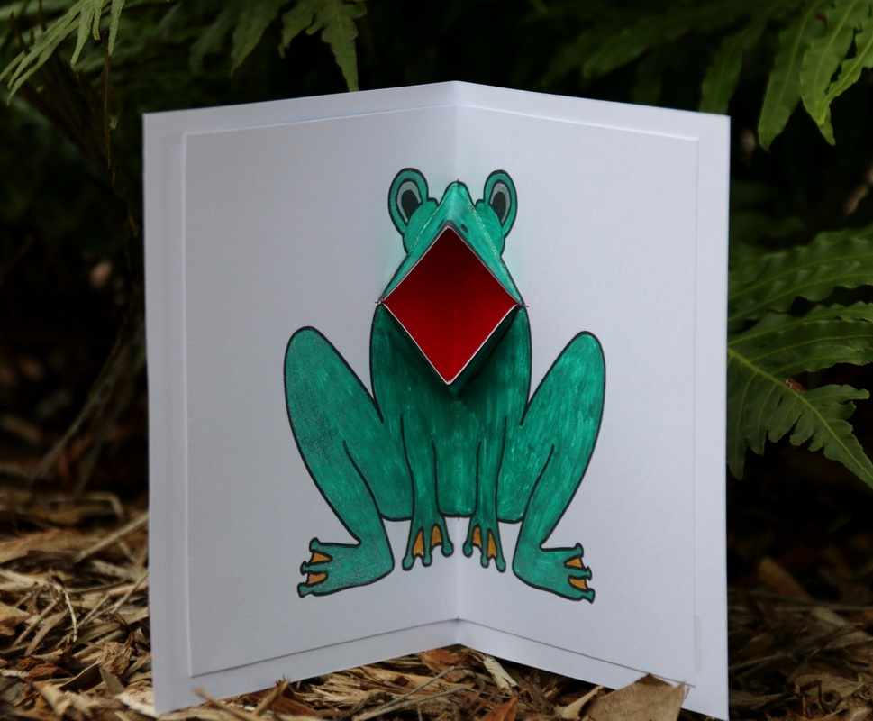 Croaking Frog Card. Frog has mouth that moves as you open and close the card. Printable template.