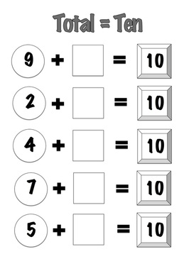 Free Printable Number Game for learning number facts of numbers that add up to ten