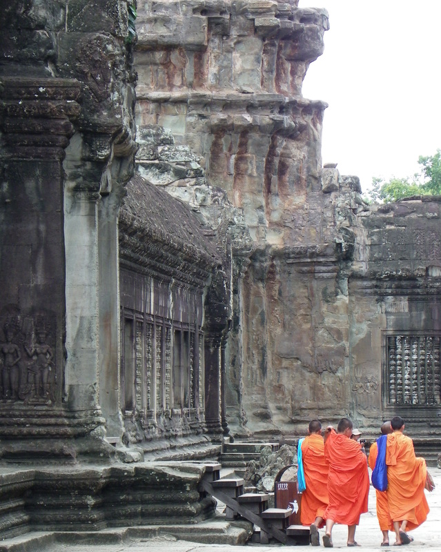 Monks at Angkor Wat Temple, Siem Reap, Cambodia