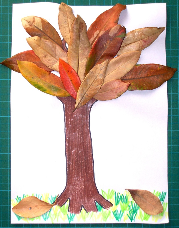 Free craft for kids autumn tree glue activity