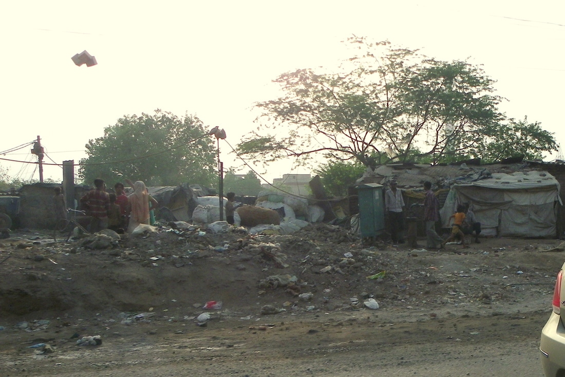 The roads of India. Roadside Slum.
