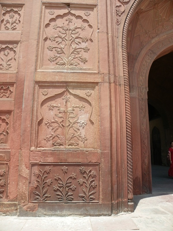 The Red Fort, Delhi, India. The Naubat Khana (Music Gallery). Motifs on walls.