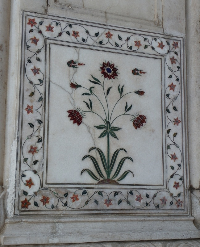 The Red Fort, Delhi, India. Diwan-i-Khas (Hall of Private Audiences). Pietra Dura (inlaid marble ).