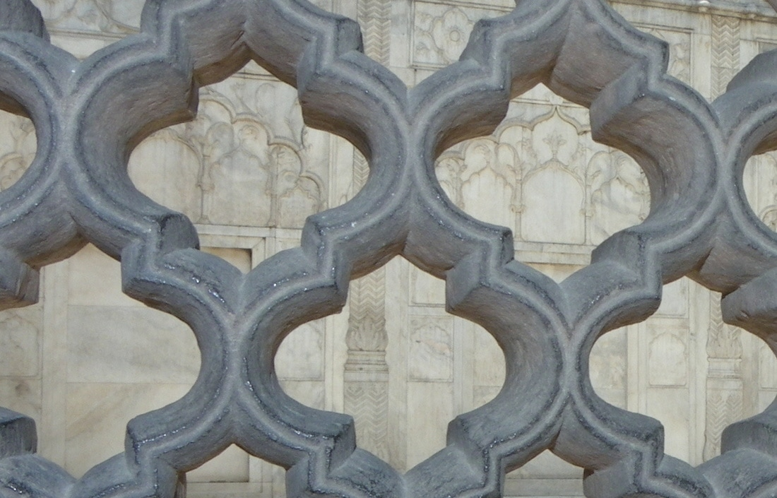 The Red Fort, Delhi, India. Jaali (tracery work) carved from stone.