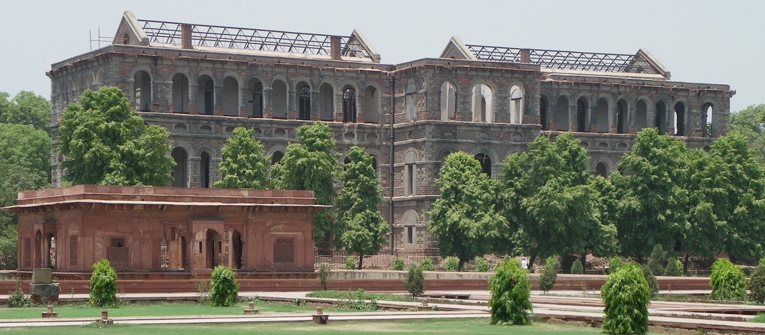 The Red Fort, Delhi, India. British Barracks. (Zafar Mahal in front).