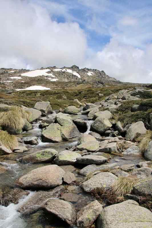 Thredbo in Summer, Kos​ciuszko National Park, New South Wales, Australia. Mountain stream and snow.