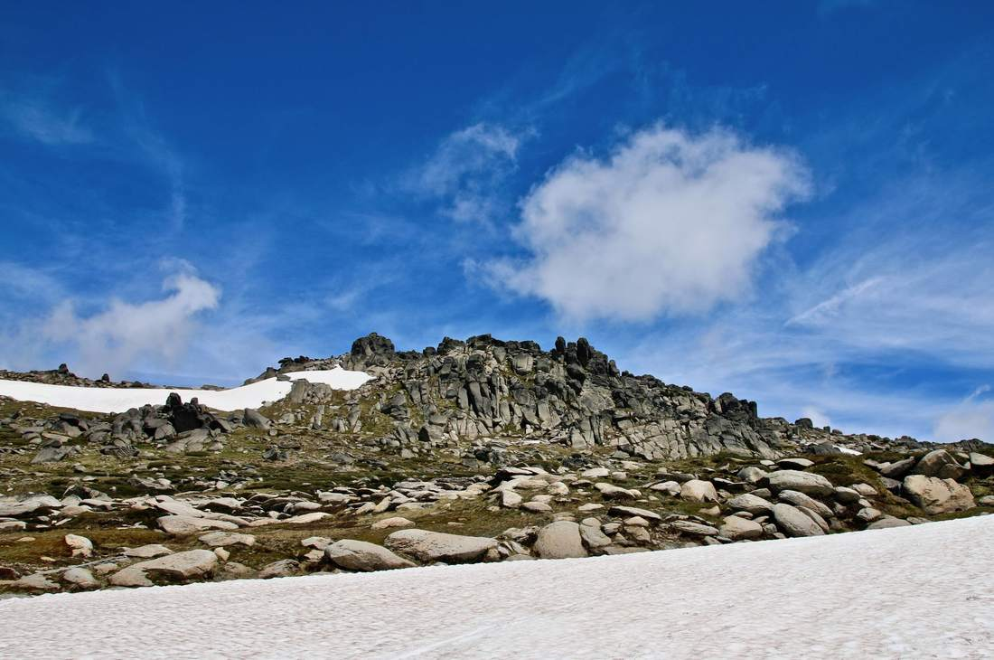 Thredbo in Summer, Kosciuszko National Park, New South Wales, Australia. Snow on the ground.