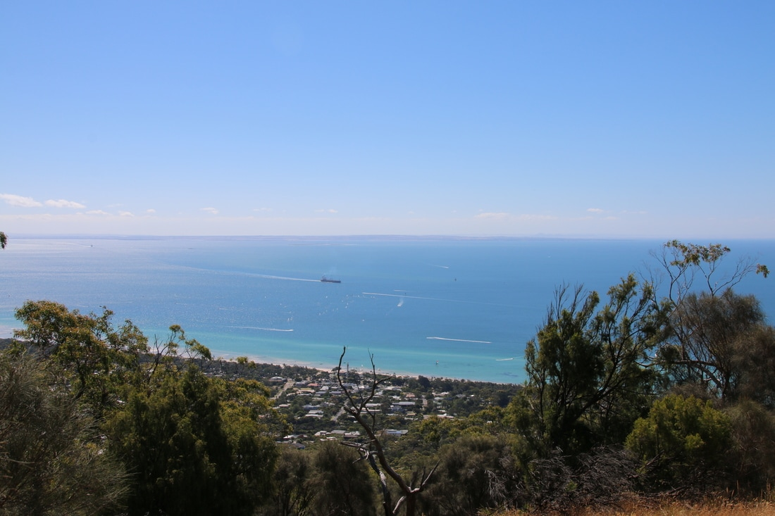 View from Two Bays Walking Track, Seawinds Gardens, Arthur's Seat, Mornington Peninsula, Victoria, Australia.