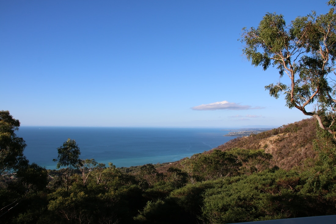 View from Northern Lookout, Seawinds Gardens, Arthur's Seat, Mornington Peninsula, Victoria, Australia.
