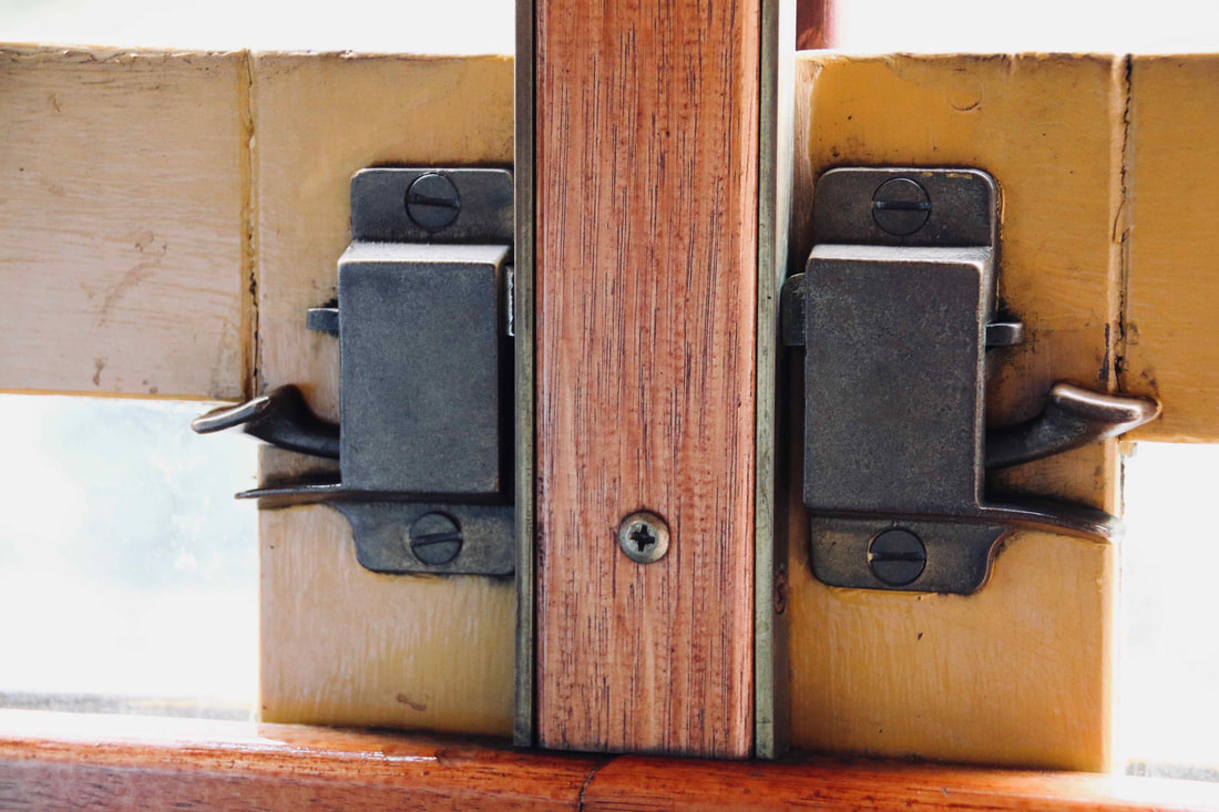 Window locks, passenger carriage. Walhalla Goldfields Railway, Walhalla, Victoria, Australia