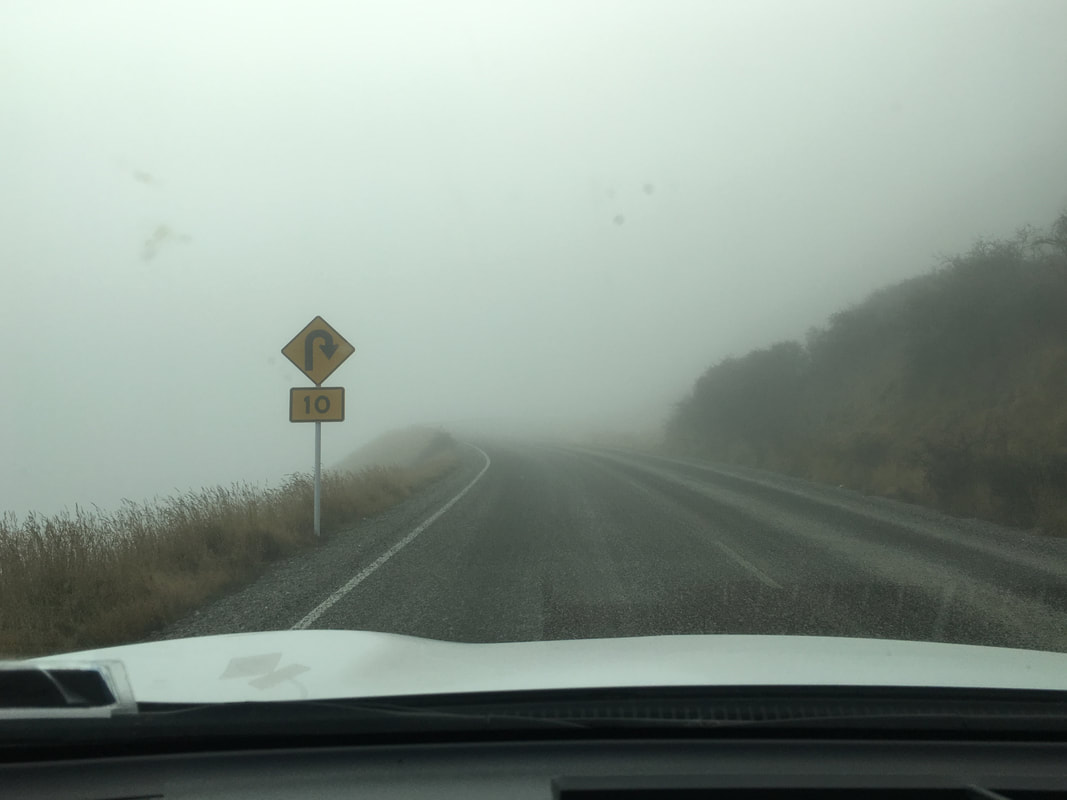The drive from Queenstown to The Remarkables. Morning Fog.