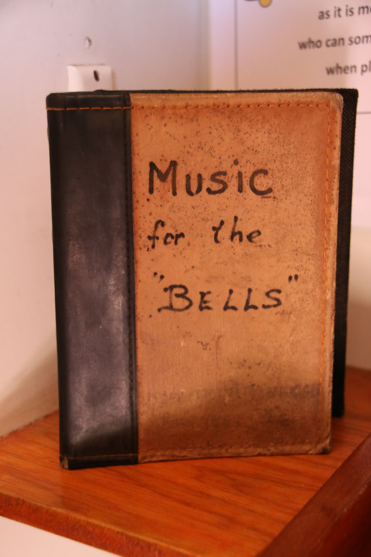 Music book for playing the bells in the tower, Holy Trinity Church, Rottnest Island, Western Australia
