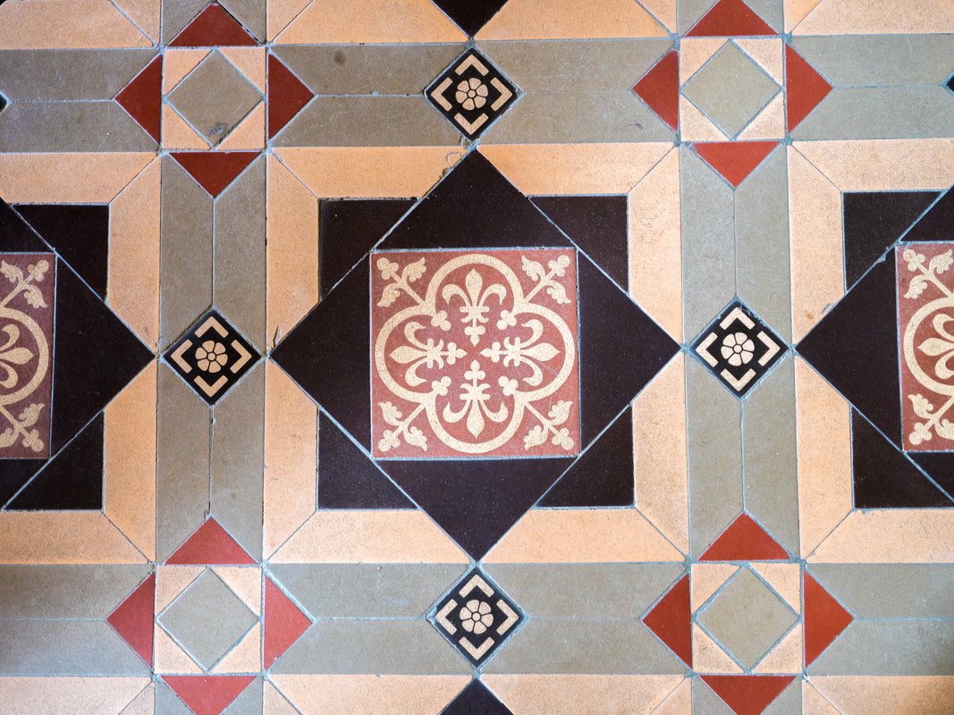 Vintage floor tiles in Coolart Homestead, Mornington Peninsula, Australia.