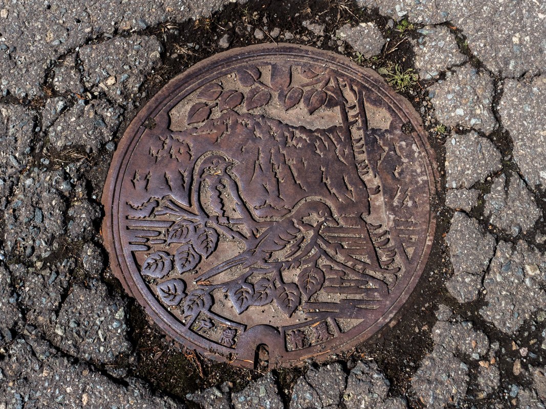Decorative man-hole cover. Togakushi.