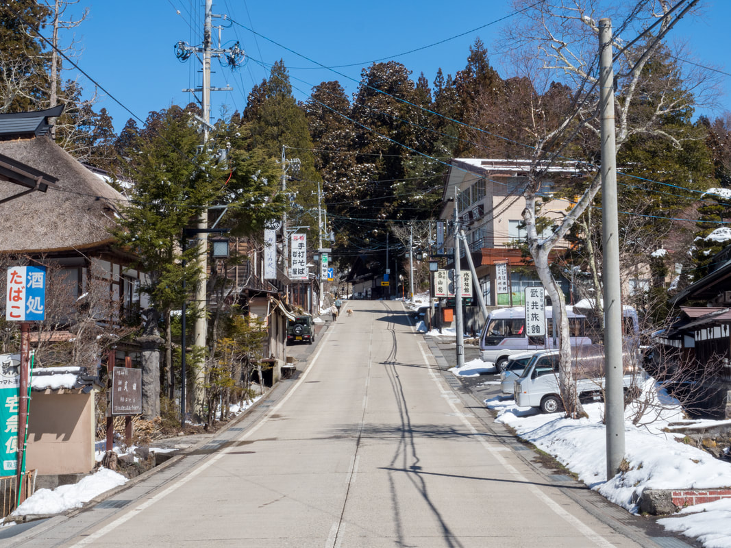 Main street along the walking track. The walking track from the Lower Togakushi Shrine to the Middle Togakushi Shrine. The Middle Shrine is at the top of the street.