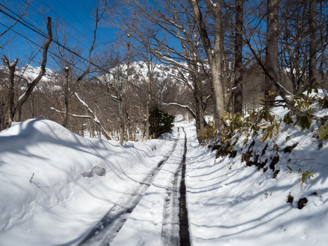 Local roads in winter, Togakushi, Japan.