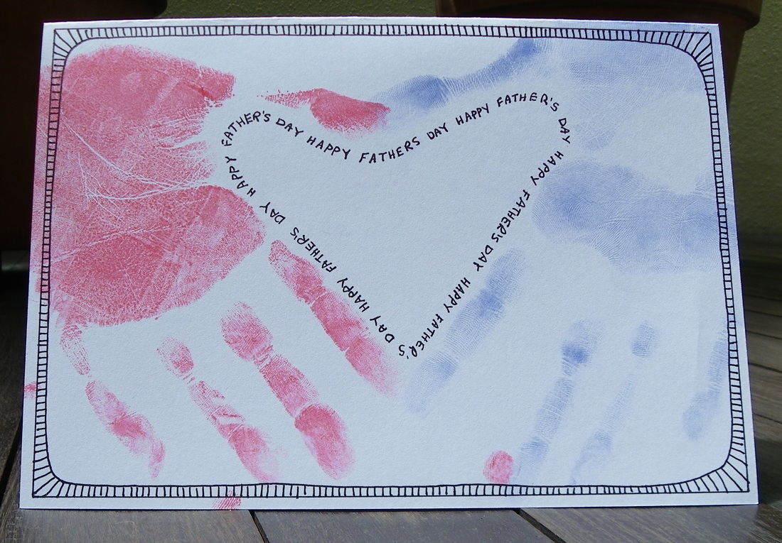 Free craft instructions how to make a father's day care with hand prints forming a love heart