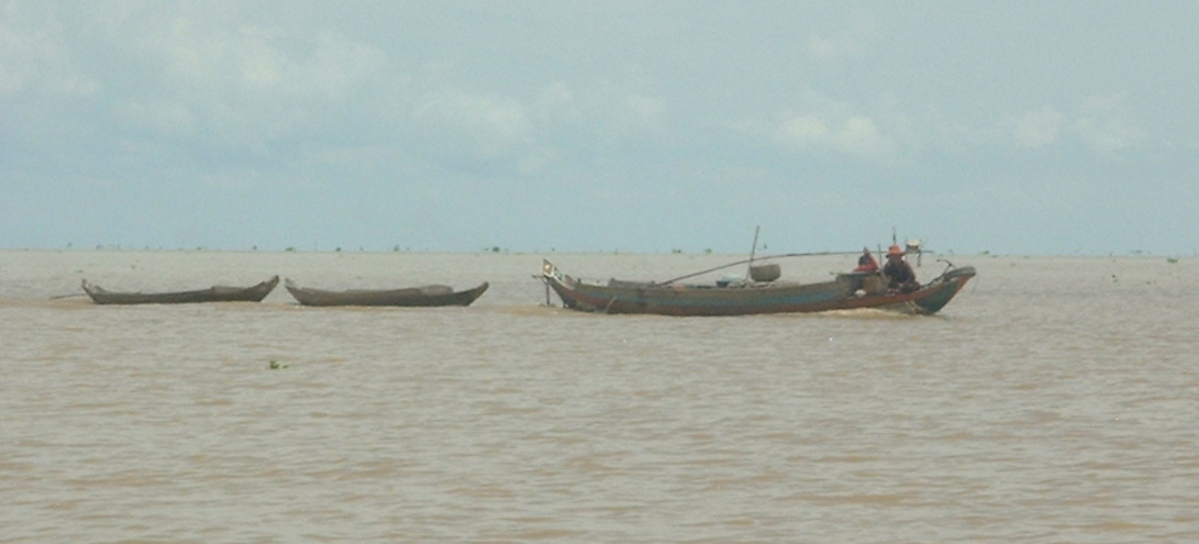 Boats on the Tonlé Sap Lake near Siem Reap in Cambodia