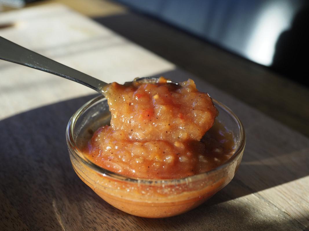 Tomato Chutney recipe with free printable recipe and instructions.