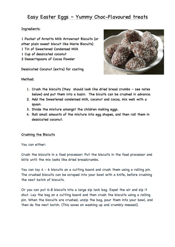 Easy chocolate flavoured Easter Egg treats for kids to make, no cooking required, recipe included.