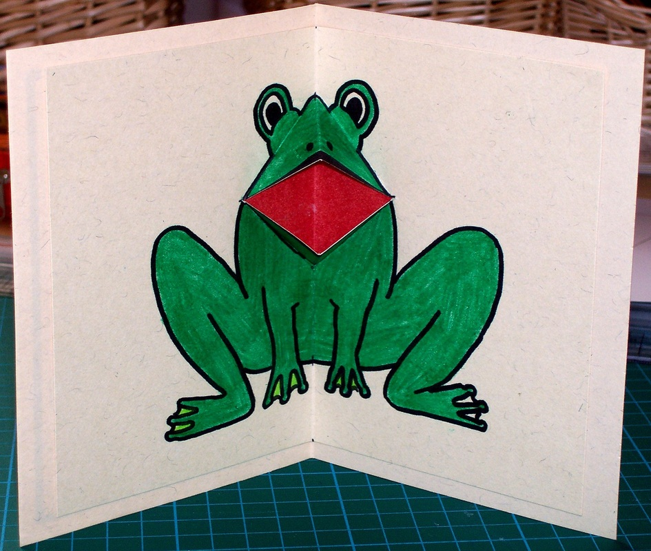Free craft for kids, make a croaking frog card with moving mouth. Free templates included.
