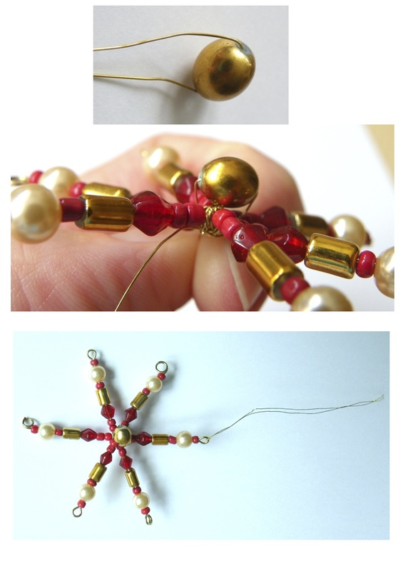 How to make Beaded Christmas Stars using Eye Pins