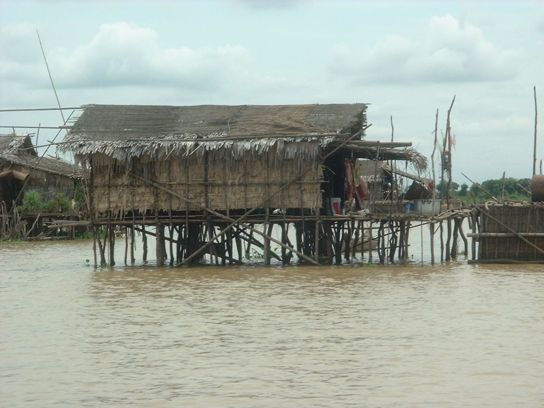 Stilted houses at the village of Kampong Phluk, Tonle Sap lake, Cambodia.