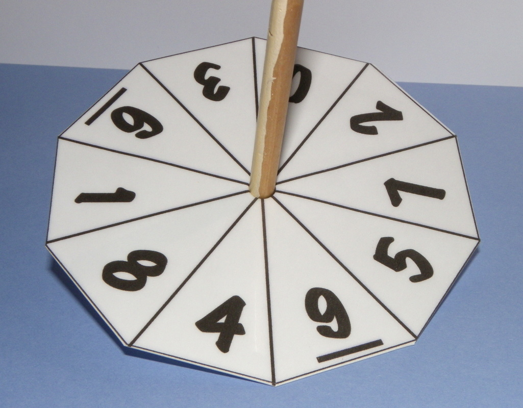 How to make a spinning wheel or die for maths numbers 0 trough 10. Ten sides.