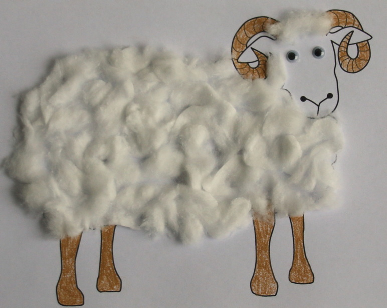 Wooly ram sheep craft for kids cotton wool glue free printable template