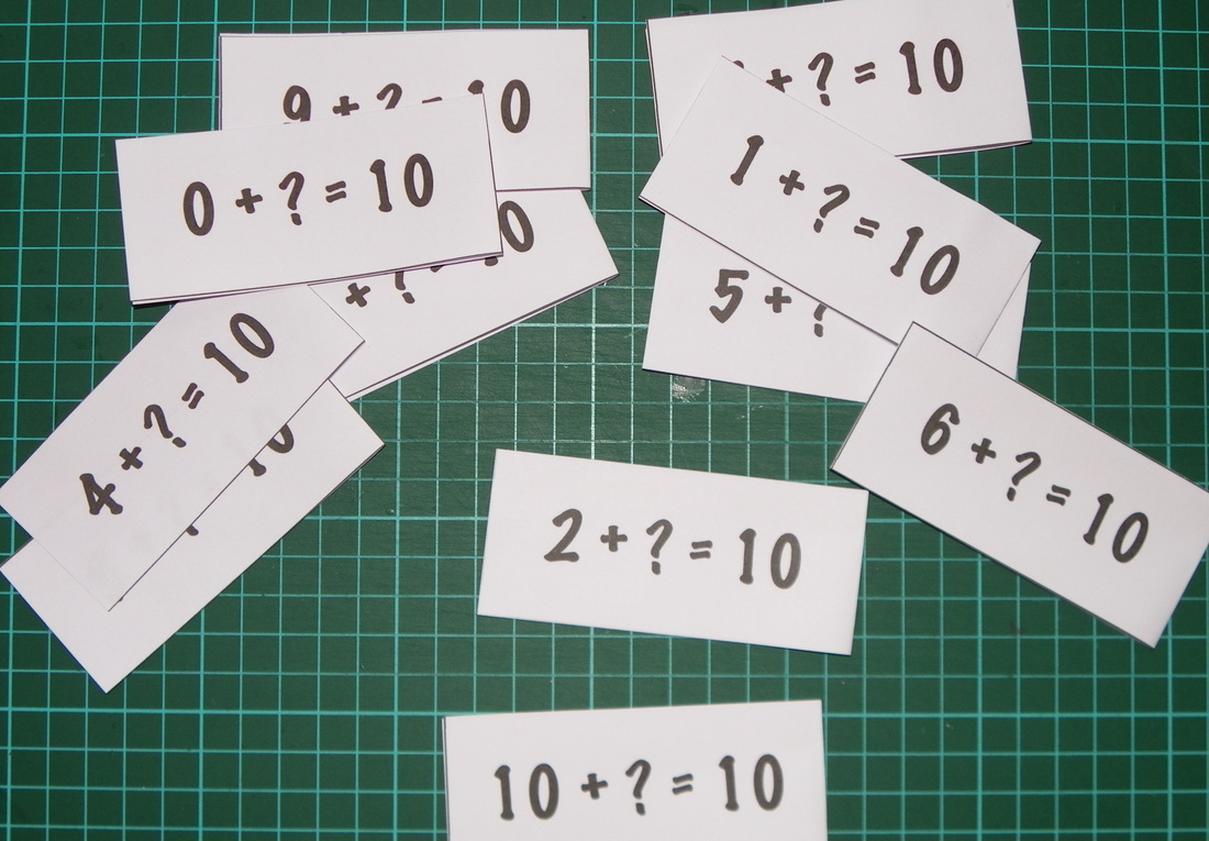 Printable flash cards for kids to learn their number facts of numbers that add up to ten