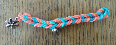 Fishtail Rainbow Loom Key Ring Keyring Orange Blue Rubber Bands Band Flower Charm Heart Charm Fun Loom My Loom No S-clip C-clip slip Knot Double