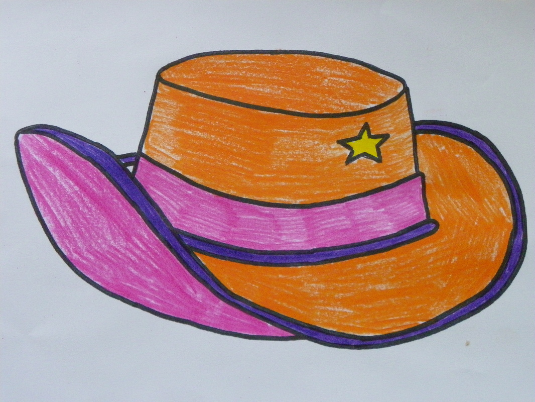 Printable Colouring page. Cowgirl or Cowboy Hat Craft for Kids.
