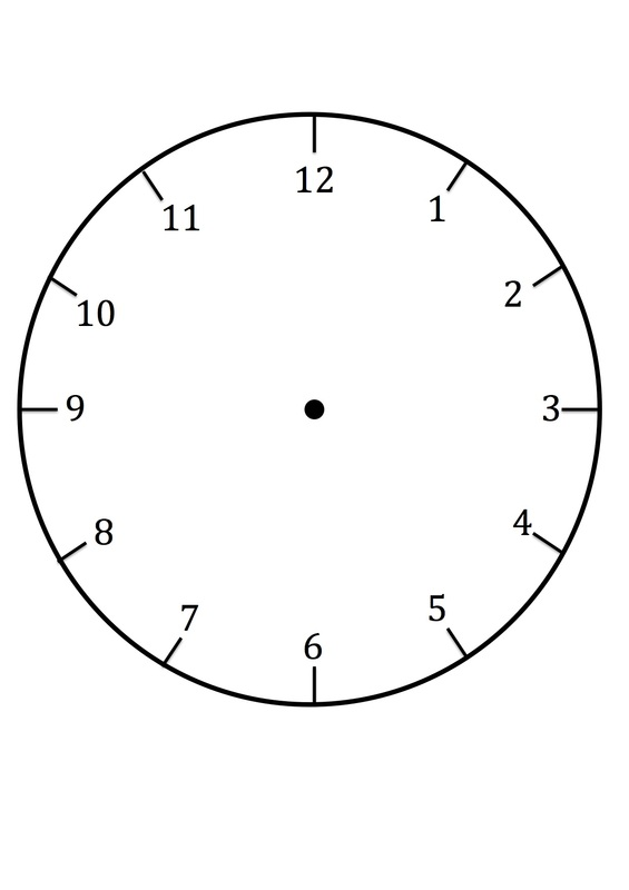 Clock faces for use in learning to tell the time for Printable clock hands template