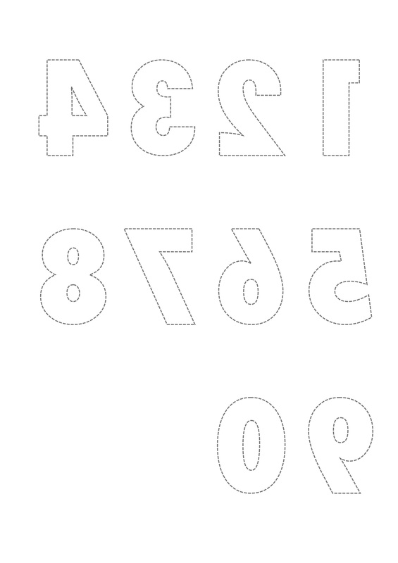 Free printable reversed number and letter templates for craft, scrapbooking and card making