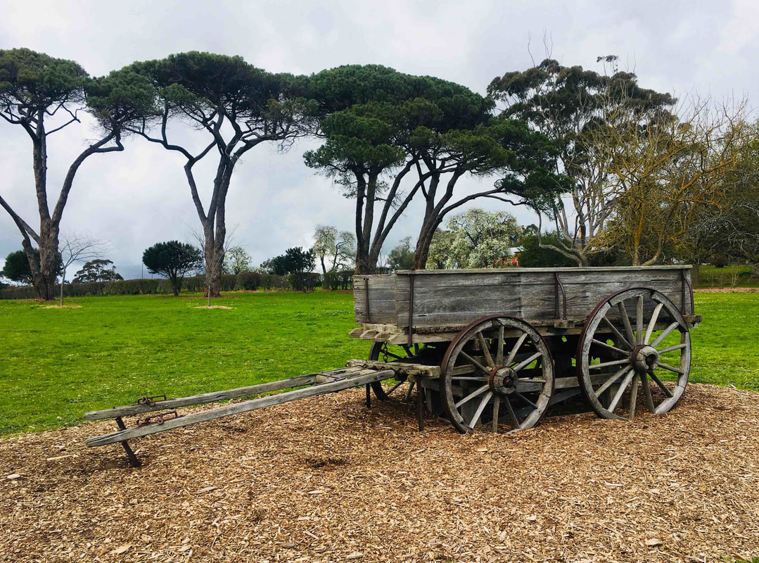 Old wooden cart, The Briars, Mount Martha, Victoria, Australia