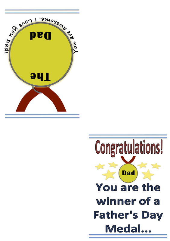 Free Printable Father S Day Card A Medal For Dad