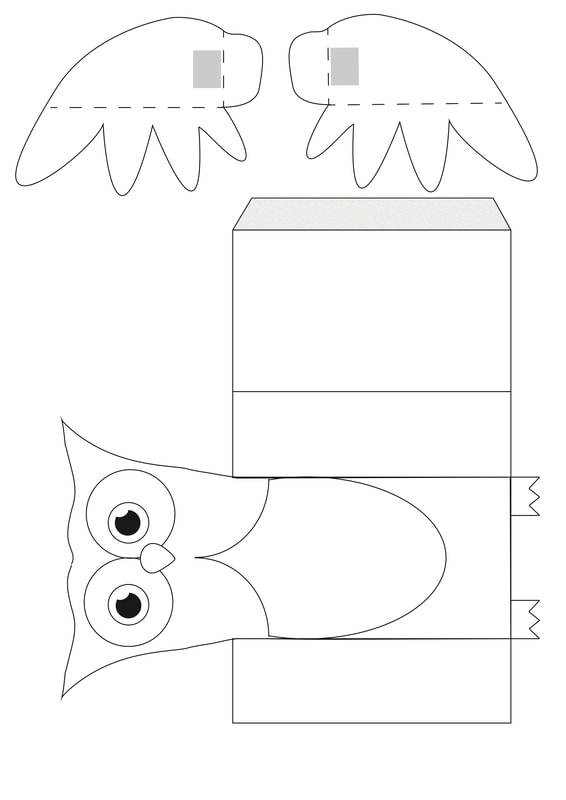 Owl puppet kids craft with free printable download. The owls wings will move.