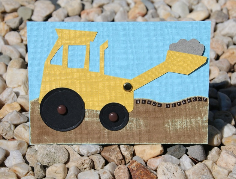 Digger Happy Birthday Card with Printable Template and  Instructions.