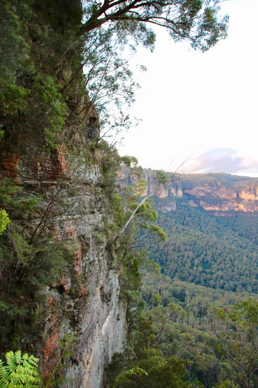 Steps down on The Giant Stairway. The Three Sisters, Katoomba. The Blue Mountains, New South Wales, Australia.