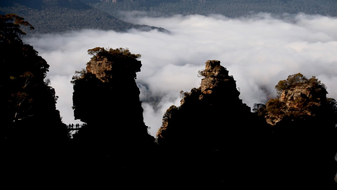 Viewing Platform. The Three Sisters, Katoomba. The Blue Mountains, New South Wales, Australia.
